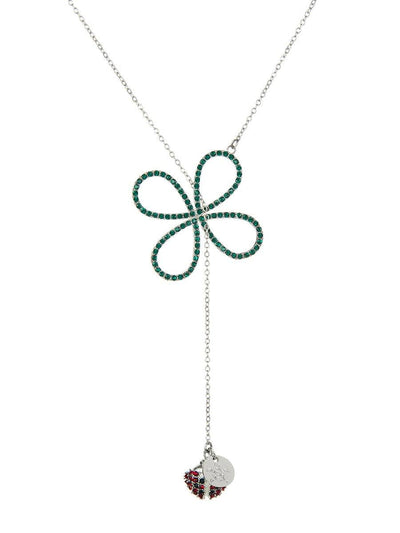 Four Leaf Clover and Ladybird Necklace - silver