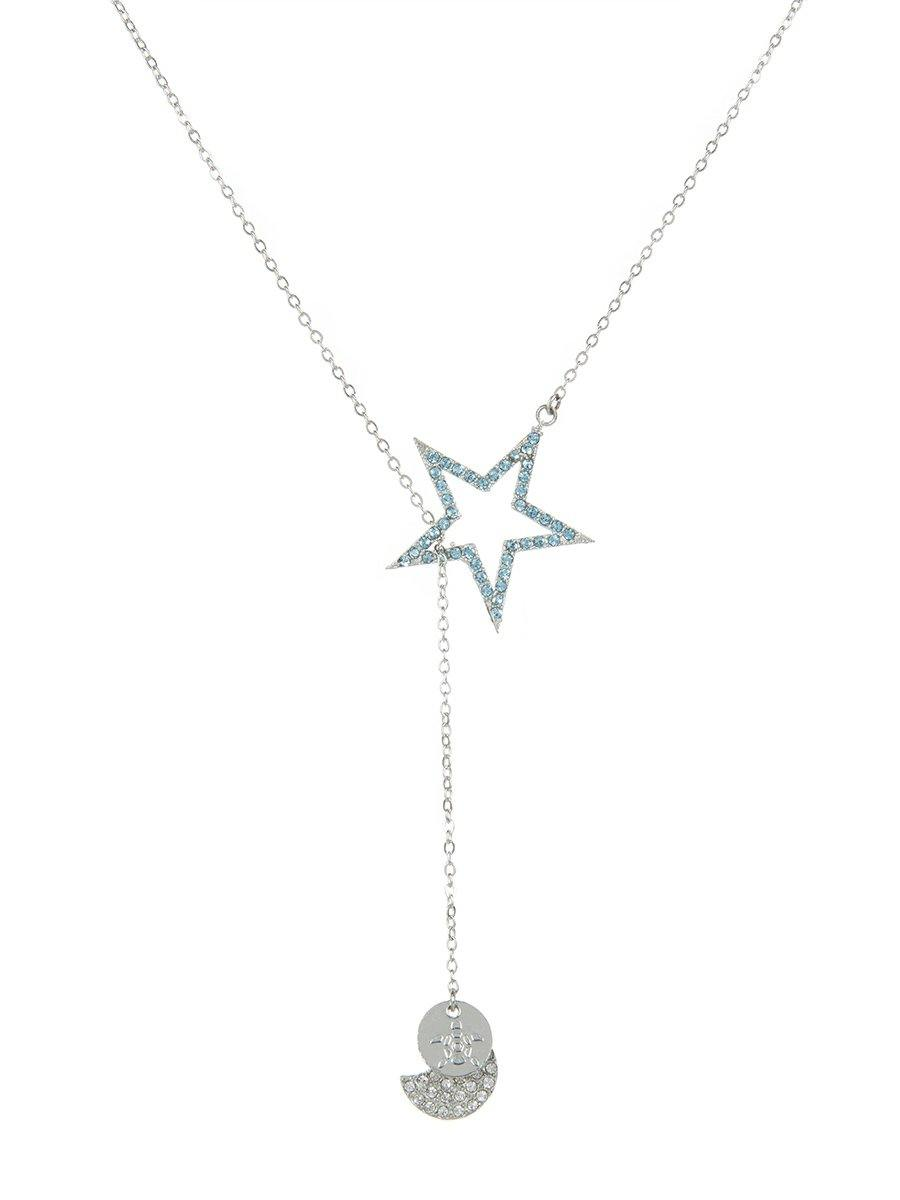 Star and Moon Necklace - silver
