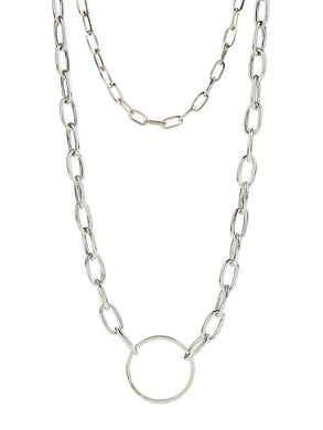 Double - Chain Necklace - silver