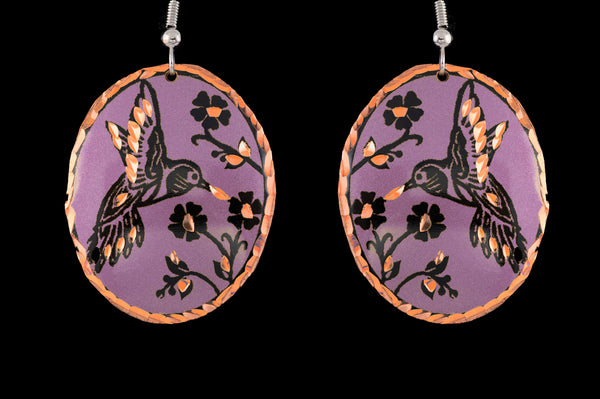 light purple hummingbird earrings