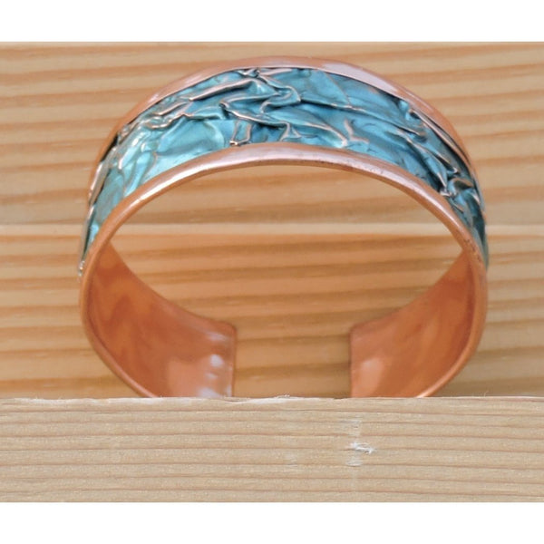 blue open bangle cuff made in the USA