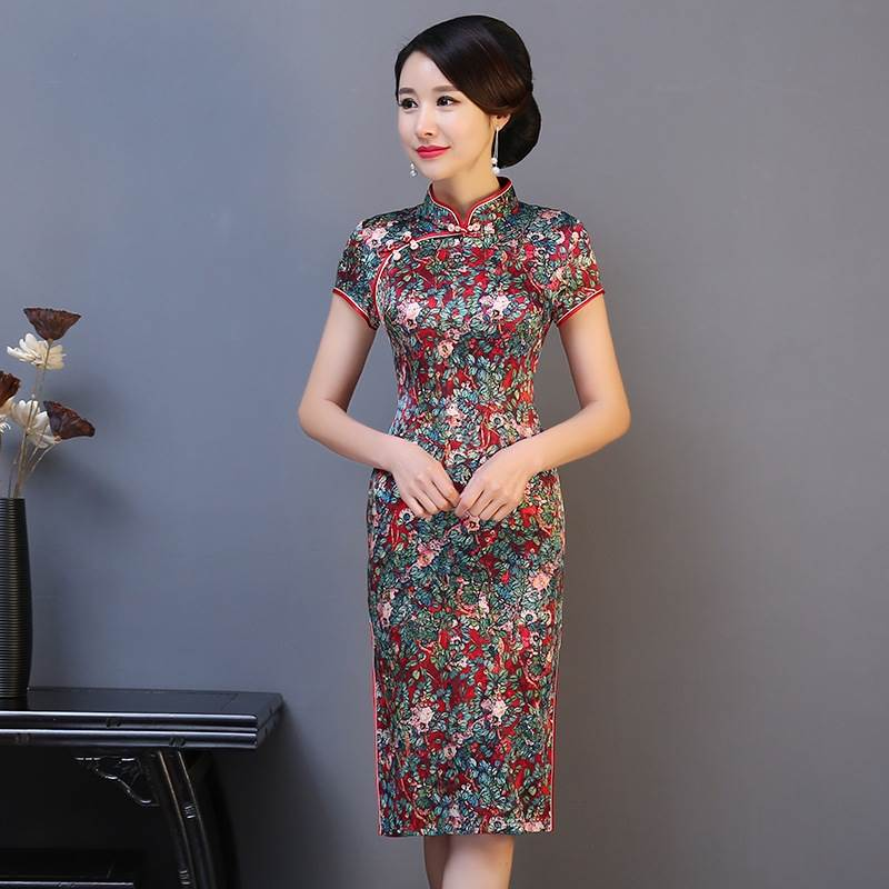 elegant cheongsam evening party gown