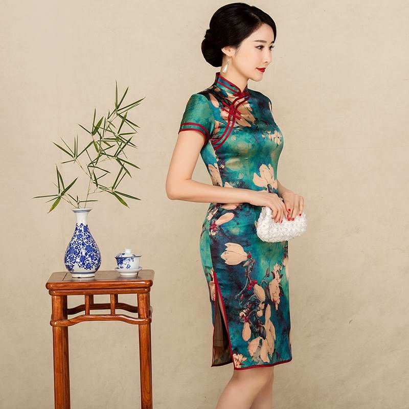 green cheongsam dress
