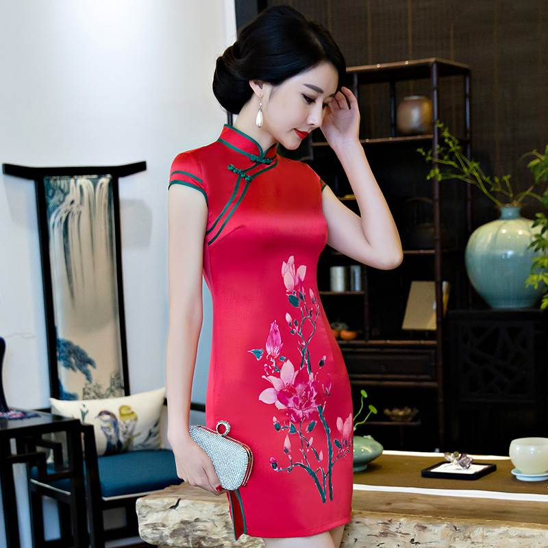 Red Digital painting qipao