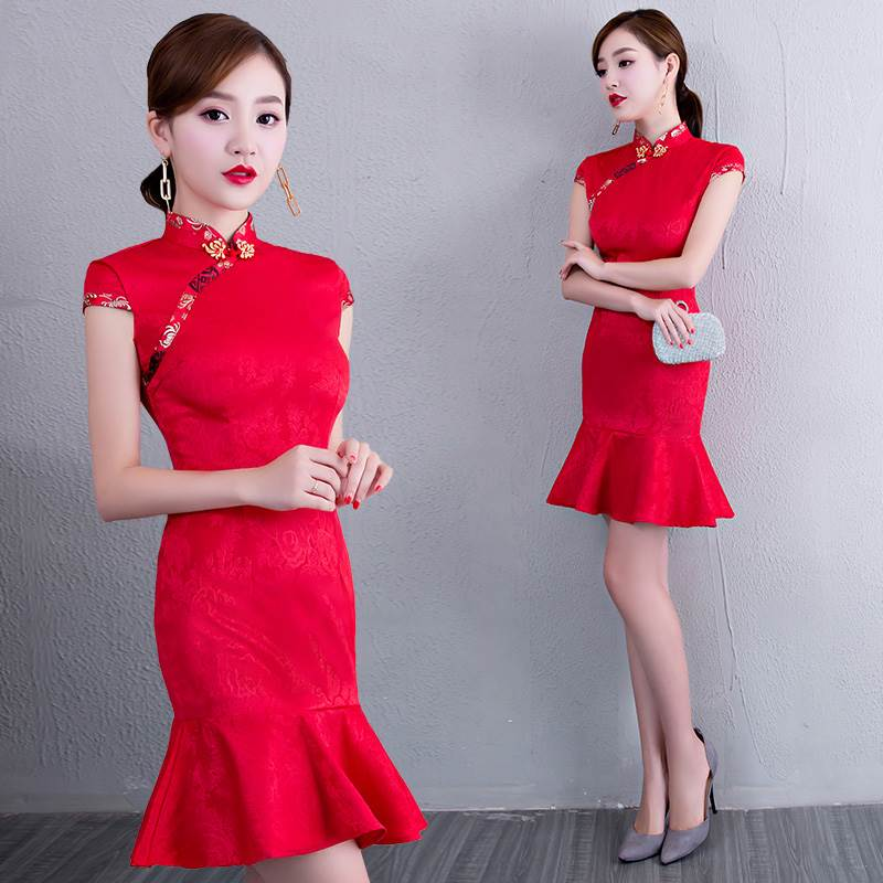 red lace qipao dress
