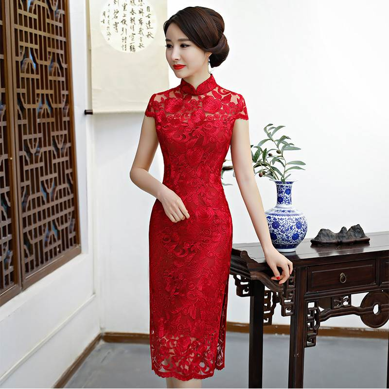 lace short qipao