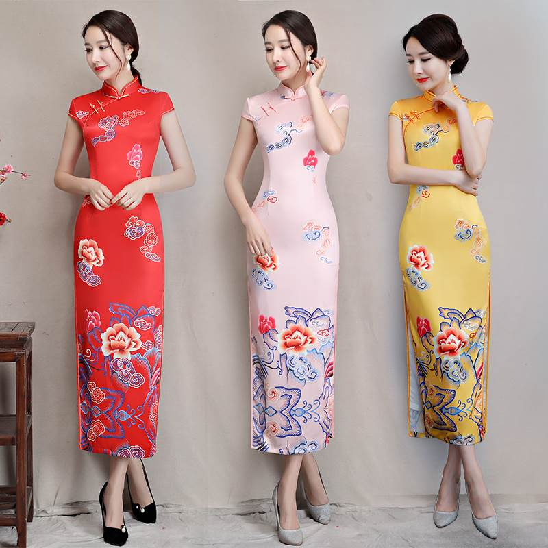 lucky clouds graphic cheongsam
