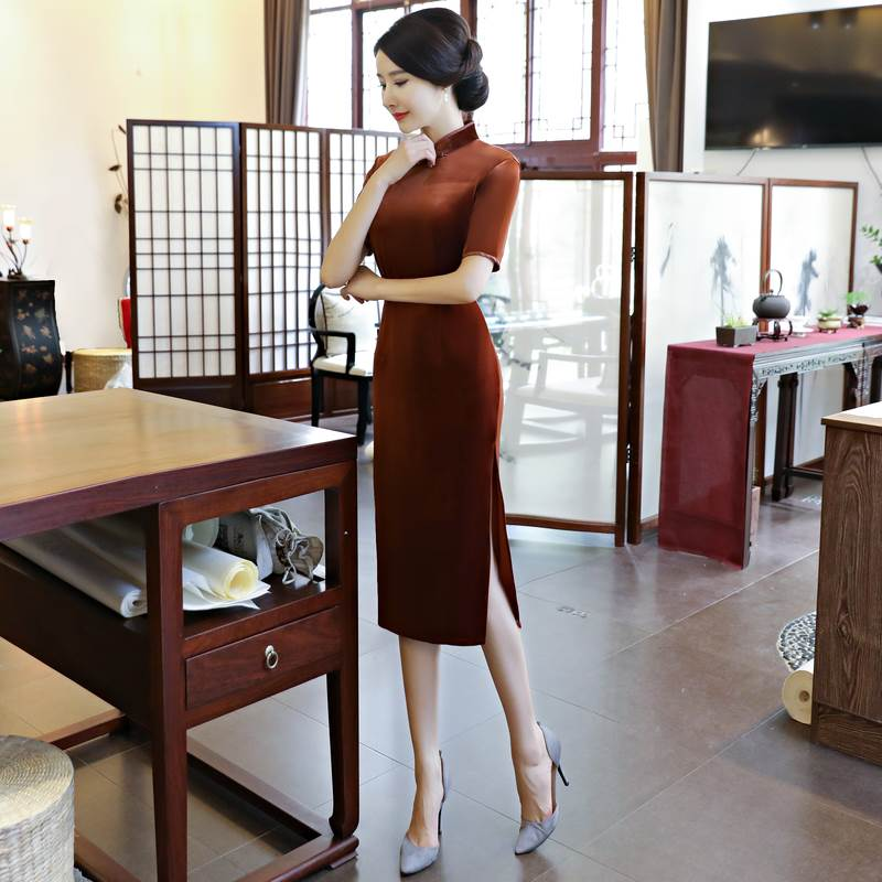pure color long qipao
