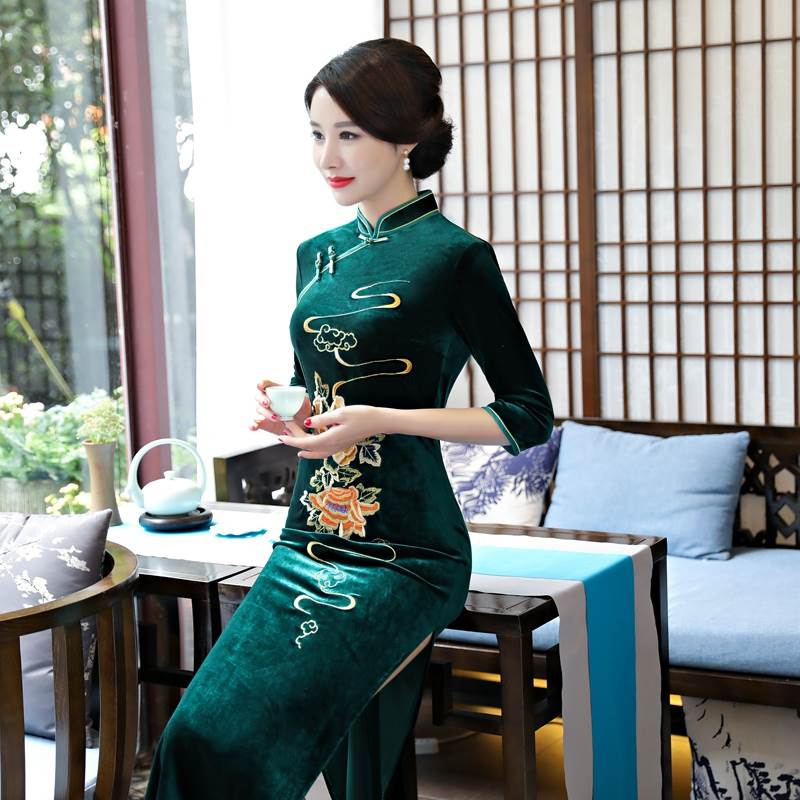dark green long qipao