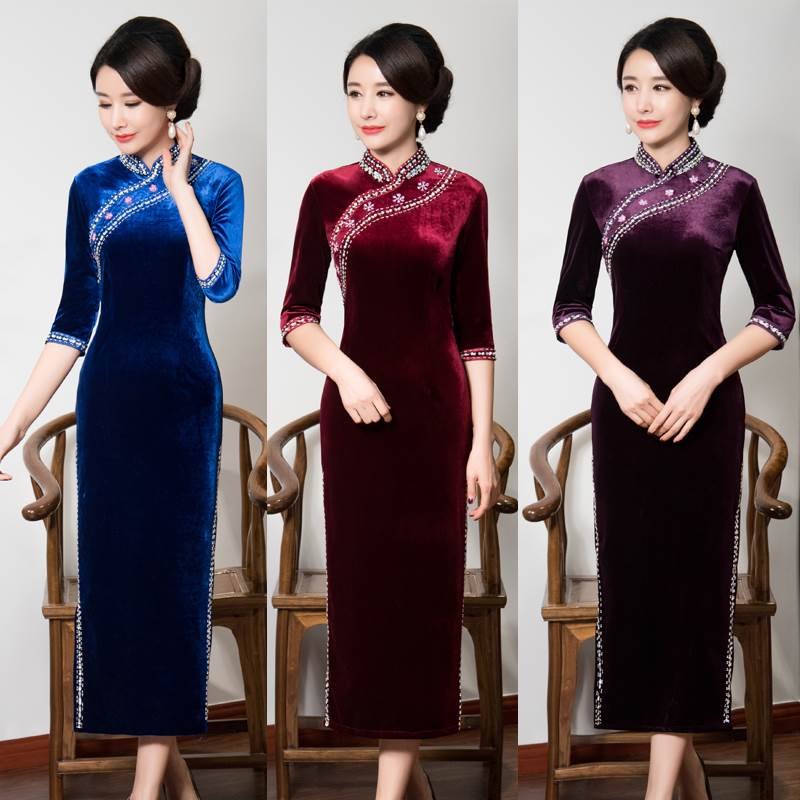 velour long cheongsam