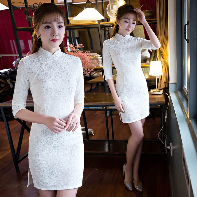 white lace short qipao