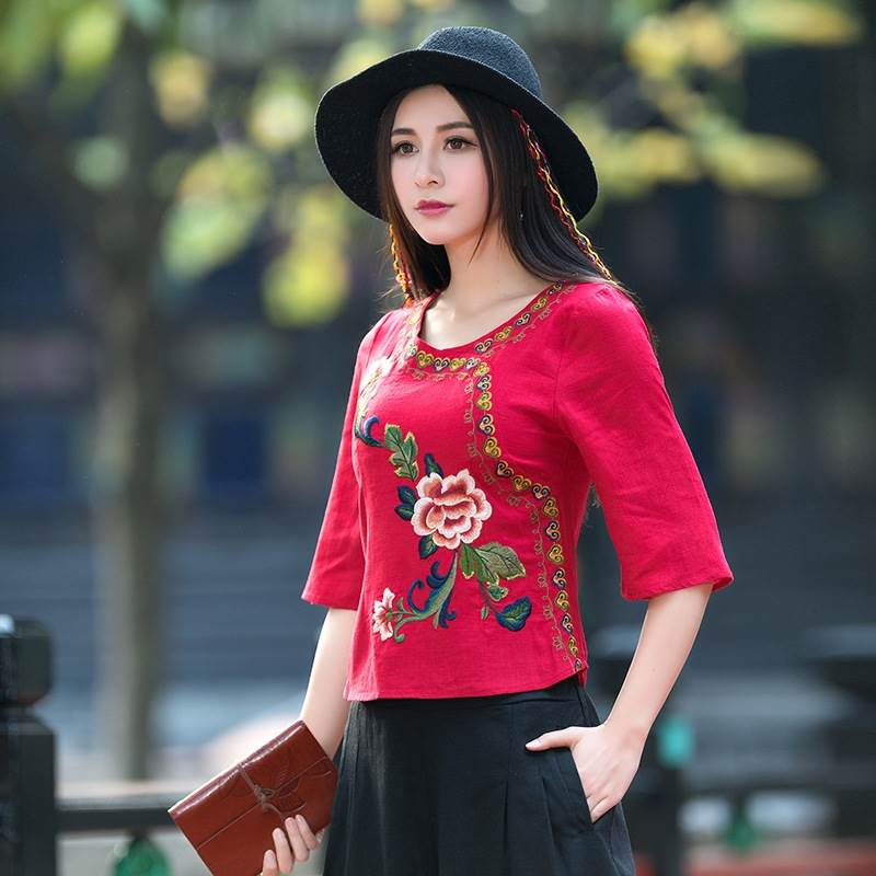 red cotton blouses