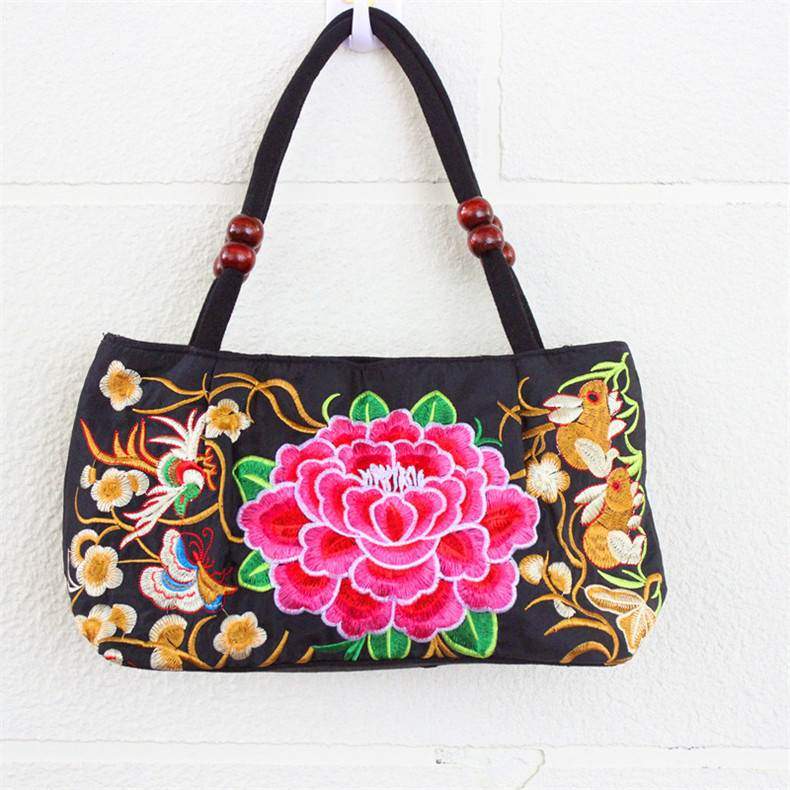 Red Camellia Embroidery Bag