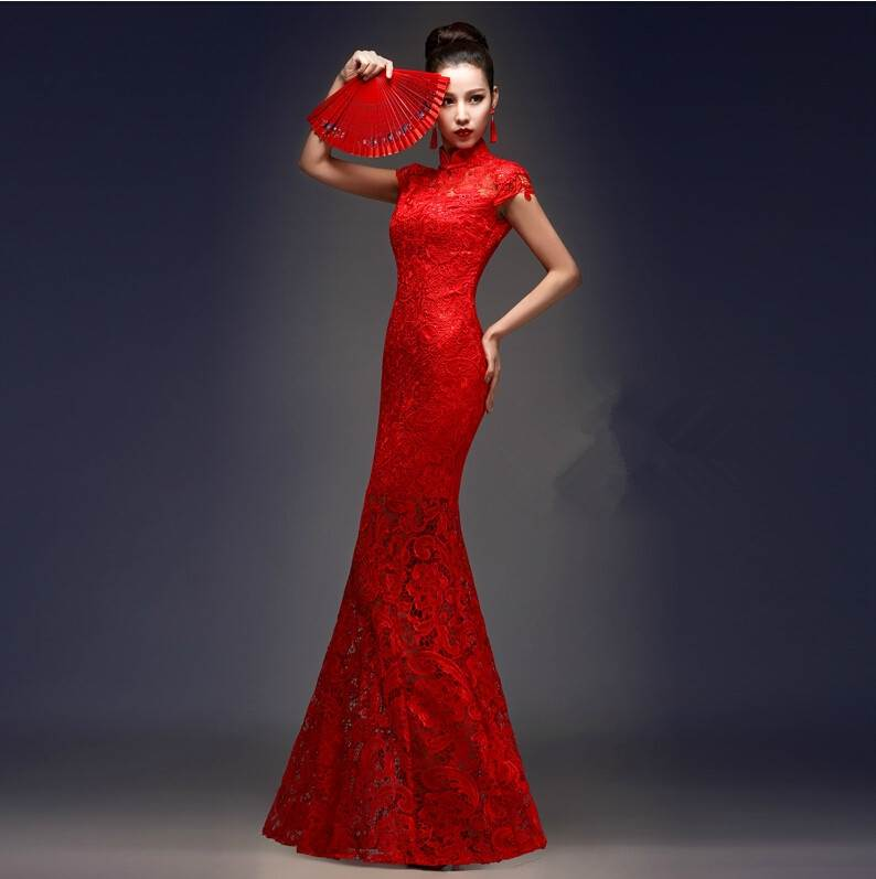 red embroidery lace fishtail cheongsam
