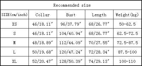 groom clothing size chart