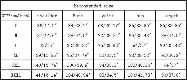 size chart for dress