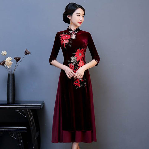 Chinese traditional costume qipao plus size clothing online sale 0b79d98953ae