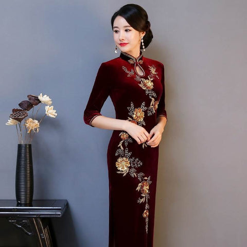 Keyhole Neck Full Length Velour Cheongsam Chinese Dress S-4XL AA9165