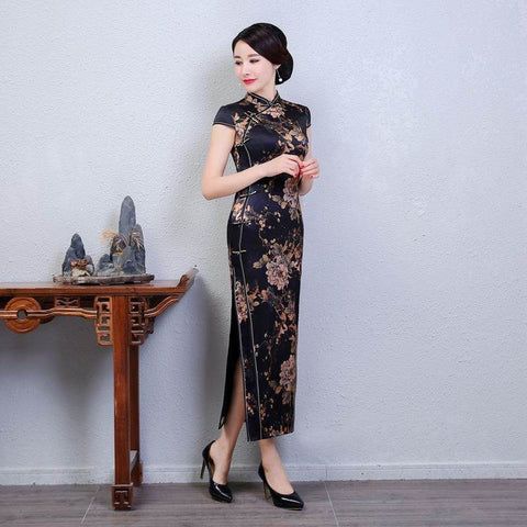 Black Silk Printing Cap Sleeve Mandarin Collar Long Cheongsam M-3XL BJS8764