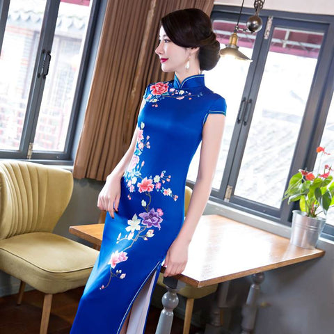 Plus Size Women Satin Home Evening Party Qipao Elegant Chinese Bodycon Dress S-6XL BQA001