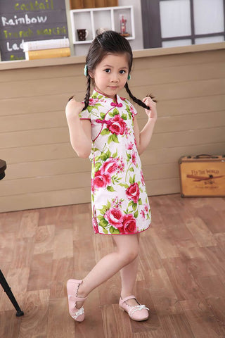 red rose fashionable little girls cheongsam