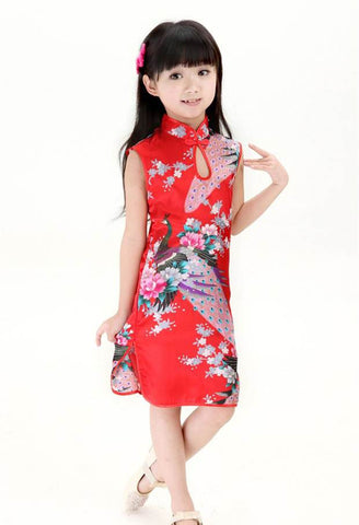 Chinese Kid Girls Baby Peacock Cheongsam Dress BR2417