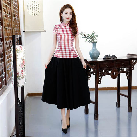 d0eac576d418 Traditional Chinese Clothing For Women Cotton Blouse Linen Skirt Set S-3XL  BSE001
