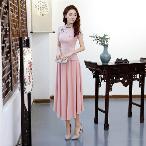 67227776ad17b Vintage Pink Chinese Traditional Cotton Satin Blouse Suit S-3XL BSE004