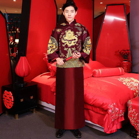 dark red groom tang suit