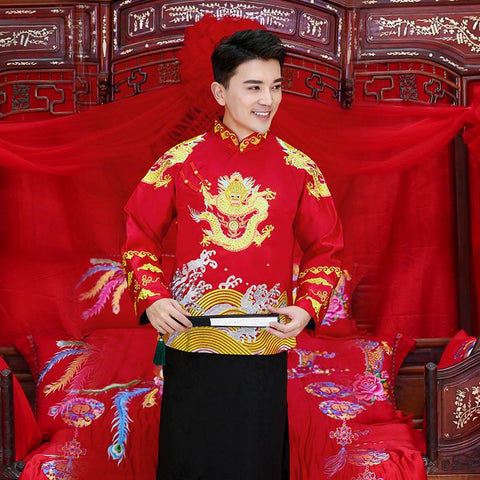 chinese wedding gown groom attire