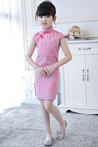 Chinese Style Dress Little Girls Short Sleeve Plaid Cheongsam GF8706