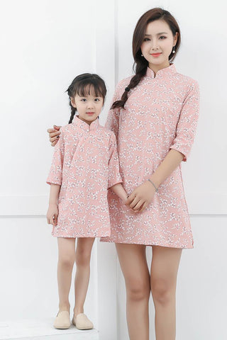 Mom And Girls Dot Pattern Midi Dress GF8714