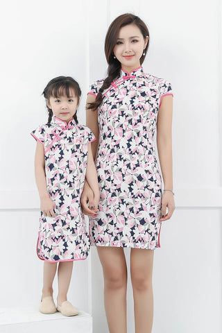 Mommy And Daughter Cap Sleeve Floral Midi Dress GF8726