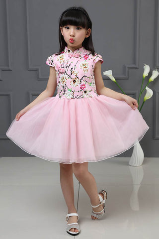 Chinese Traditional Dress Kids Summer Floral Mesh A-Line Princess Dresses Hb3803
