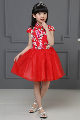 Kids Cheongsam / Qipao Dress With A-Line Princess Dresses HB3805