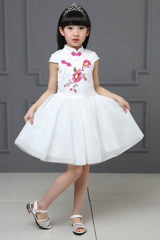 Kids Summer Floral Mesh A-Line Princess Cheongsam Dresses Fairy Couture HB3811