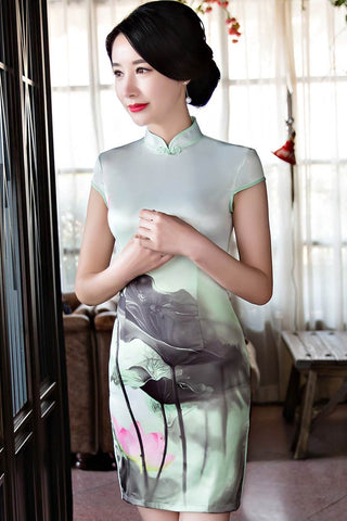 light green cheongsam dress