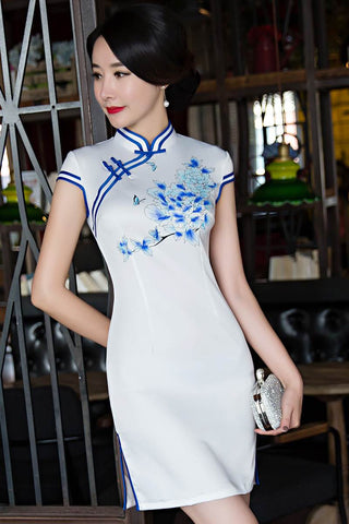 blue flower short qipao