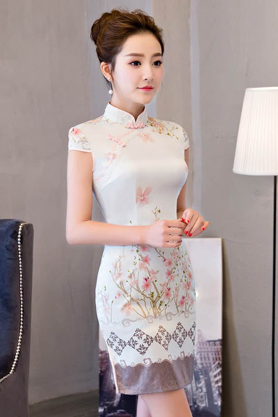 pink covered edge silk cheongsam