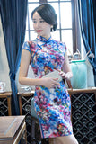 blue stereoscopic painting cheongsam