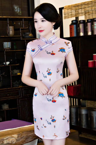 Cap Sleeve Modern Silk Qipao With Contrast Blue Trims HQ7140