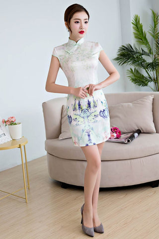cotton printing short cheongsam