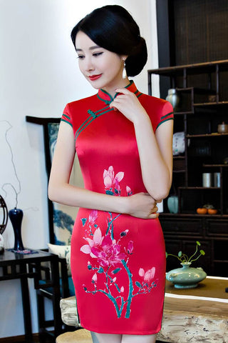 red short cheongsam