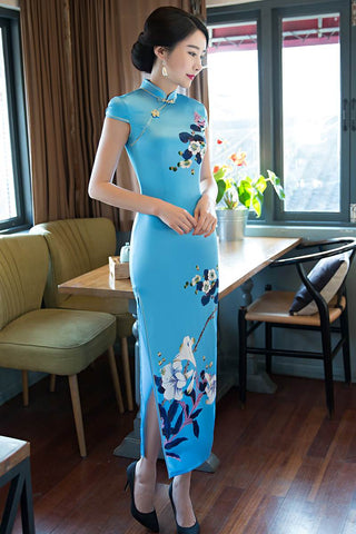 long silk qipao