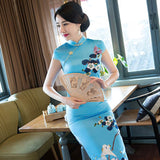 light blue chinese themed dress