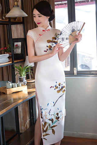 silk white long qipao