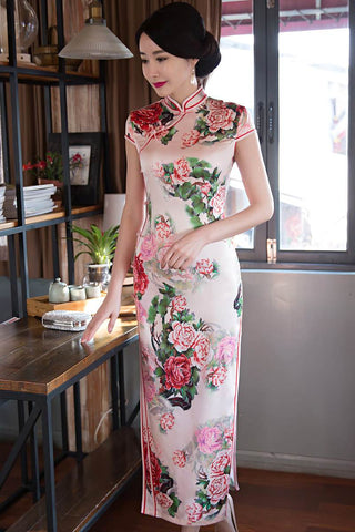 Chinese  Women Cheongsam New Women Silk Satin Long Qipao For Party Wedding HQ7206