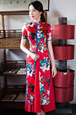 red short sleeve  printing qipao