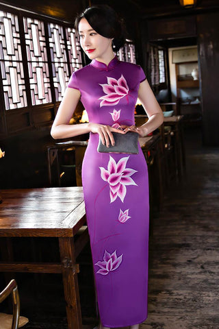 faux silk long qipao