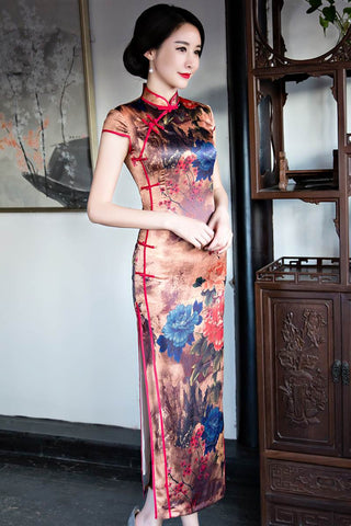 Long Modern Qipao Cheongsam Prom Dress In Forest Print HQ7235